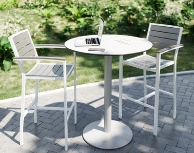 """Eveleen Aluminum 36"""" Bar Height Bistro Table, white top and base"""