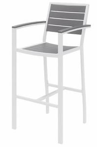 Eveleen Aluminum Frame Stool, Grey Polypropylene seat and back, white frame
