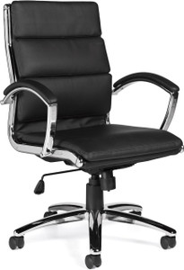 Offices To Go Luxhide Executive Segmented Cushion Chair With Removable Arms