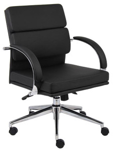 Polished Frame Medium Back Conference Chair in Black Softouch Leather