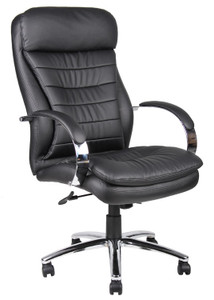Polished Frame High Back Executive in Classic Black Softouch Leather