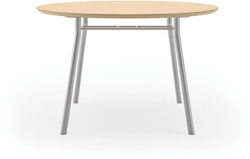 "Lesro 42"" Round High Pressure Laminate Conference Table in Natural High Pressure Laminate and silver legs"