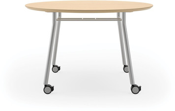 "Lesro 42"" Round High Pressure Laminate Conference Table with Casters in Natural high pressure laminate and silver legs"