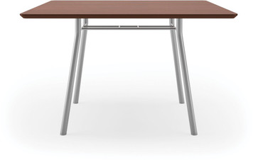 "Lesro 42"" Square High Pressure Laminate Conference Table in Mahogany High Pressured Laminate finish and silver legs"