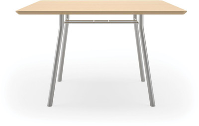 "Lesro 42"" Square High Pressure Laminate Conference Table in Natural High Pressured Laminate finish and silver legs"