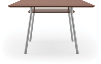 "Lesro 42"" Square High Pressure Laminate Conference Table in Mahogany High Pressured Laminate finish, silver legs and under table shelf"