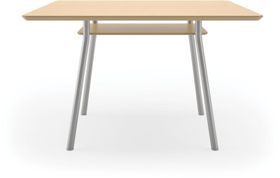 "Lesro 42"" Square High Pressure Laminate Conference Table in Natural High Pressured Laminate finish, silver legs and under table shelf"