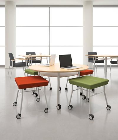 "Lesro 42"" Square High Pressure Laminate Conference Table in reception setting"