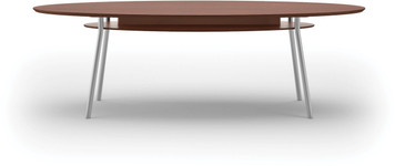 "Lesro 84"" Elliptical High Pressure Laminate Conference Table in Mahogany High Pressure Laminate Top, under table shelf and silver legs"