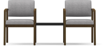 Lenox Two Chairs with Connecting Center Table in black Melamine top