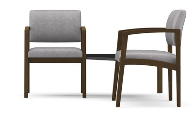 Lenox Two Chairs with Connecting Corner Table with Black Melamine table top