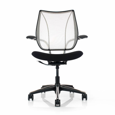 Humanscale Liberty Task Chair Shown in a Polished Aluminum frame and Black Seat