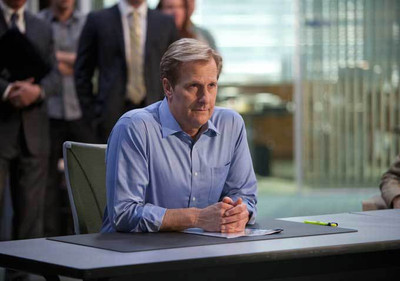 Jeff Daniels from the HBO hit series Newsroom looking serious in his Liberty chair