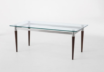 Siena Glass Top Coffee Table with Mahogany Finish Wooden Legs