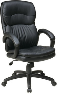 Leather Executive High Back with Fixed Padded Arms in Black Eco Leather