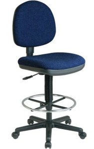 Fabric Seat and Back Stool with Built-In Lumbar Support in Navy Fabric