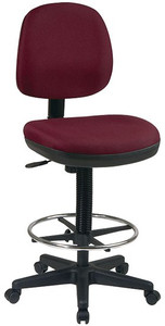 Fabric Seat and Back Stool with Built-In Lumbar Support and Flex Back in Burgundy Fabric