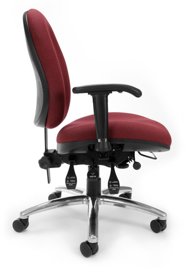 OFM 24/7 Big & Tall Computer Task Chair in Wine Fabric Side view
