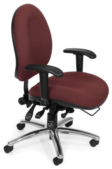 OFM 24/7 Big & Tall Computer Task Chair in Wine Fabric