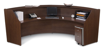 Marque Double Unit Reception Station in Walnut Interior w/ Optional Mobile File Pedestal