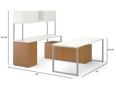 Hon Voi Contemporary U Station With Credenza ...