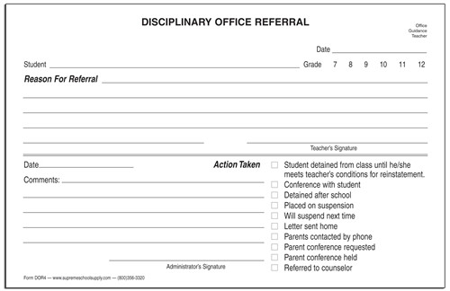 Disciplinary Office Referral DOR4 Supreme School Supply
