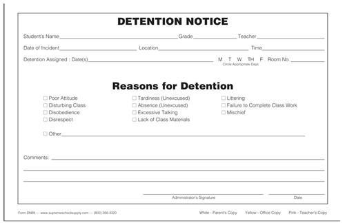 Detention Notice Triplicate DN89