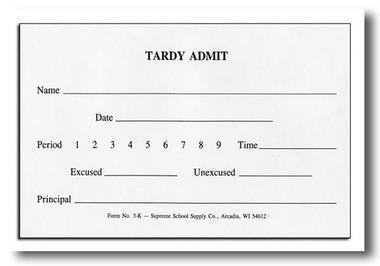 Tardy Admit (3K)