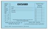 Excused Slips, Blue (150BEX)