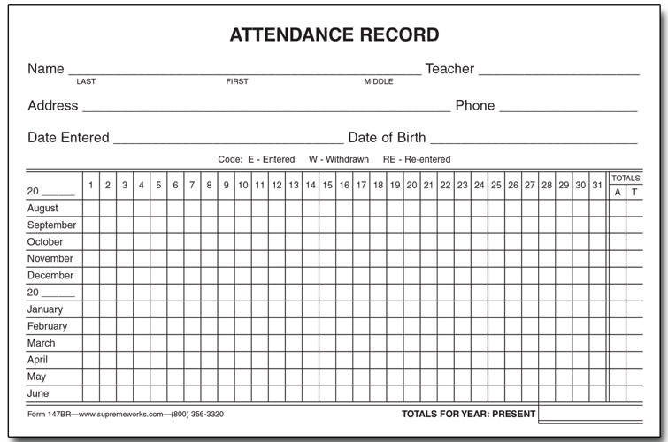 attendance record card yearly 147br supreme school supply