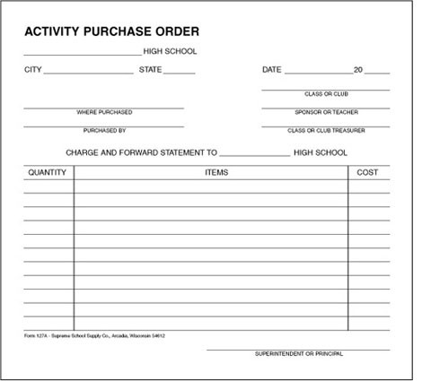 High Activity Purchase Order (127A) on receipt form, bill of sale form, distribution form, petty cash form, contact us form, request for proposal form, requisition form, bill of lading form, purchase history, expenses form, remittance advice form, credit note form, journal voucher form, military orders form, purchase requisition, purchase tracking, invoice form,