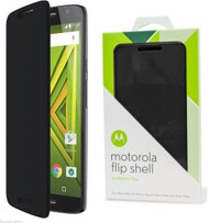 Genuine Official Motorola Flip Case Cover for Motorola Moto X Play - Black