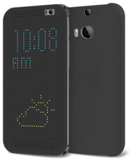 HTC Dot Flip Cover Case for HTC One (M8) HC M100 - Grey