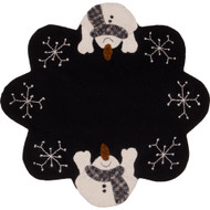 Snow Day Black Candle Mat