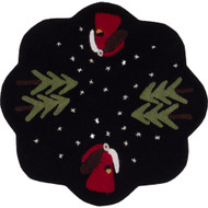Father Christmas Black Candle Mat