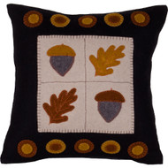 Acorn & Oak Leaf Black Pillow