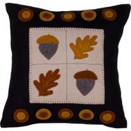 Acorn & Oak Leaf Black Pillow