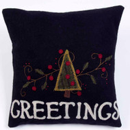 Greetings Black Pillow