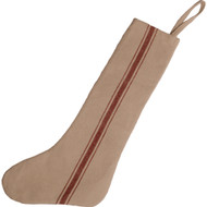 Grain Sack Stocking Red Stripe - Cream Stocking