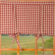 Heritage House Check Barn Red - Nutmeg Roll Tie Valance