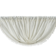Tobacco Cloth Antique White Balloon Valance Fringed 60x15