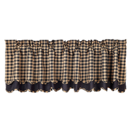 Black Check Scalloped Valance Layered Lined 16x72