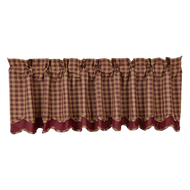 Burgundy Check Scalloped Valance Layered Lined 16x72