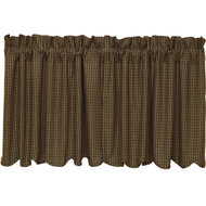 Kettle Grove Plaid Tier Scalloped Lined Set of 2 L24xW36
