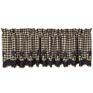 Black Star Scalloped Valance Layered Lined 16x72