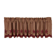 Burgundy Star Scalloped Valance Layered Lined 16x72