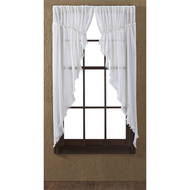 Tobacco Cloth Antique White Prairie Curtain Set 2 63x36x18