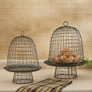 WIRE BELL CLOCHES SET OF 2