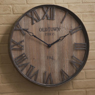 OLD TOWN GALV./WOOD WALL CLOCK