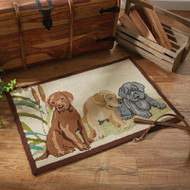 LAB PUPPIES INDOOR/OUTDOOR HOOKED RUG 2X3